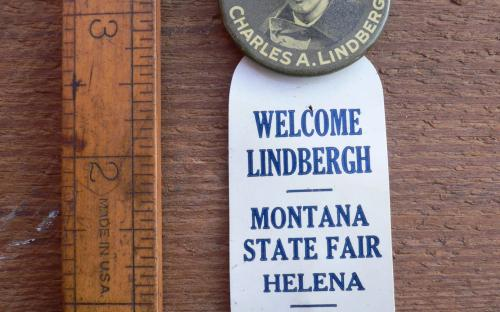 Vintage 1927 Charles Lindbergh Lone eagle Whitehead and Hoag pinback button Helena Montana state fair  for sale