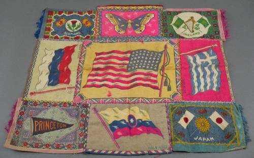 Antique tobacco felt pillow cover flags and universities