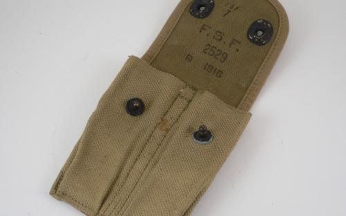 WWI Colt 45 magazine pouch dated 1918 FSF ink stamp for sale