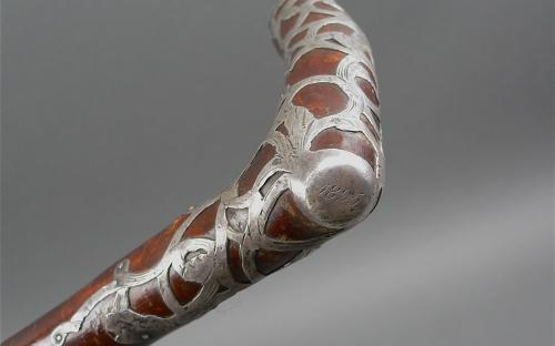 Antique walking stick Holly branch cane dated 1895 Art Nouveau silver overlay handle for sale