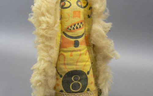 Vintage carnival circus punk knock down figure canvas wool and wood for sale
