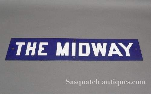 "Circus carnival single sided vintage porcelain sign ""The Midway"" 24"" long for sale"