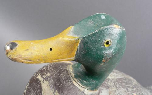 Vintage rig mated pair of Mallard & Hen wood glass eyed duck decoys attributed to Skippy Barto for sale