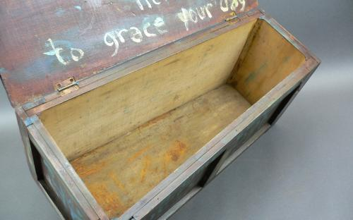 "Antique folk art seed ""motto"" box biblical verses red milk paint arts and crafts era for sale"