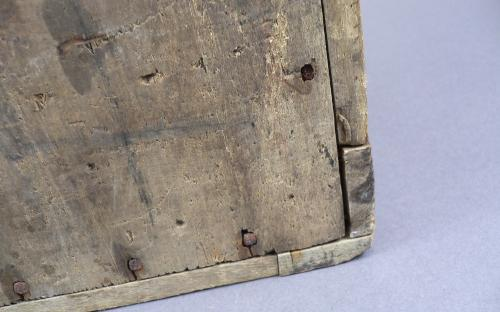 """Antique folk art seed """"motto"""" box biblical verses red milk paint arts and crafts era for sale"""