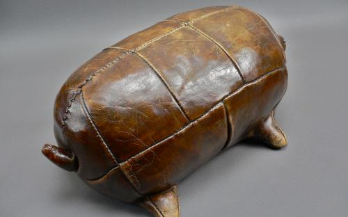 Vintage Dimitri Omersa design for Abercrombie & Fitch leather turtle ottoman for sale
