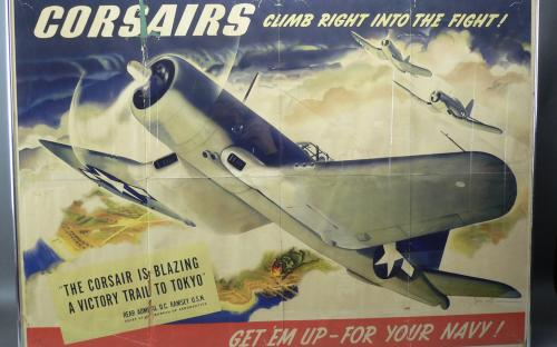 "Original WWII incentive poster of F4U Corsair by illustrator Jon Whitcomb 39.5""x 28.5"""
