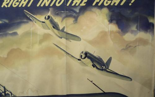 "Original WWII incentive poster of F4U Corsair by illustrator Jon Whitcomb 39.5""x 28.5"" for sale"