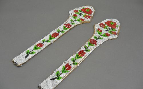 Pair of Nez Perce or Plateau attributed beaded jacket strips or horse tack ascending roses