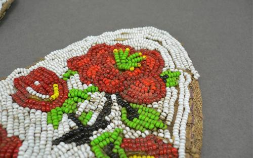 Pair of Nez Perce or Plateau attributed beaded jacket strips or horse tack ascending roses for sale