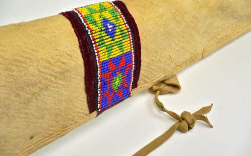 50s Vintage beaded native American deerskin rifle scabbard fits Winchester 94 or 92 Carbine for sale