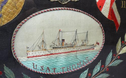 Excellent Japanese cruise silk embroidery Philippine insurrection 5th Cavalry for sale