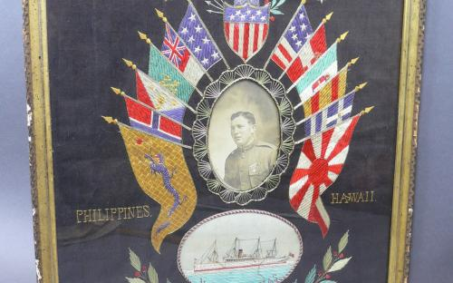 Excellent Japanese cruise silk embroidery Philippine insurrection 5th Cavalry