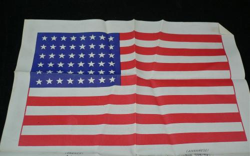 Late WWII 48 star flag rayon pilot blood chit MIS-X type 4 for sale
