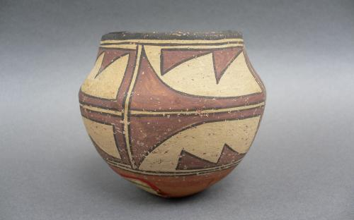 Miniature Olla form polychrome vessel Southwest Native american Zia pottery