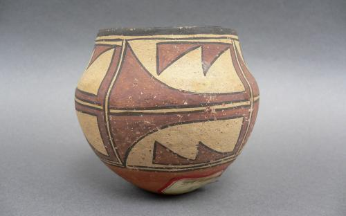 Miniature Olla form polychrome vessel Southwest Native american Zia potteryMiniature Olla form polychrome vessel Southwest Native american Zia pottery