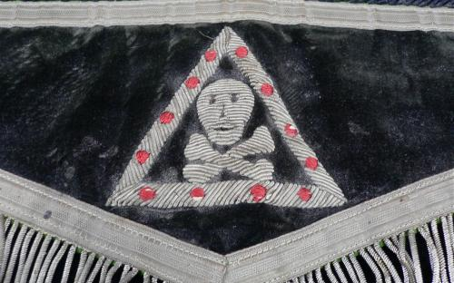 Antique Knights Templar felt bullion apron skull and bones imagery for sale