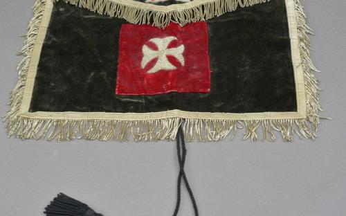 Antique Knights Templar felt bullion apron skull and bones imagery