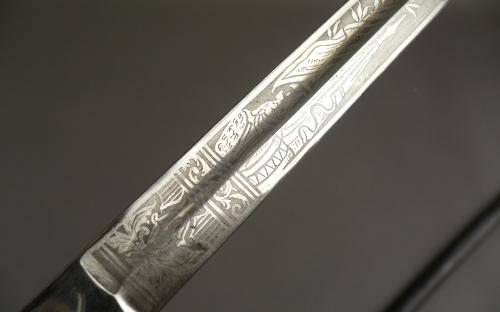 Prussian Imperial Germany civil service sword mother of pearl eagle pommel etched blade for sale