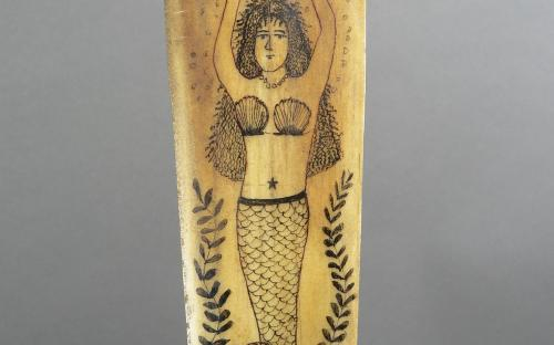 Antique maritime folk art polychrome scrimshaw mermaid swordfish bill sword for sale tramp art handle