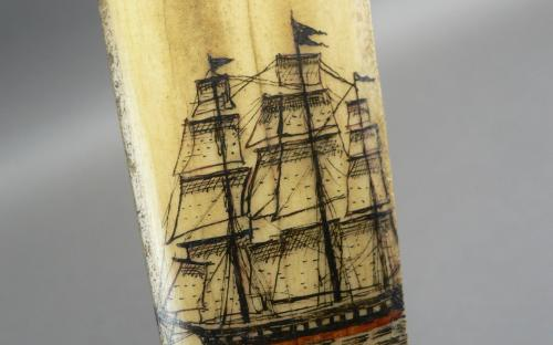 Antique maritime folk art polychrome scrimshaw mermaid swordfish bill sword for sale