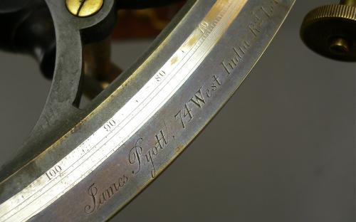 Antique London maker James Pyott bronze and ebony sextant for sale