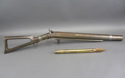 "19th century No 2 1 1/8"" bore CC Brand shoulder whaling gun and lance for sale"