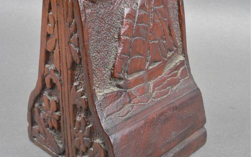 Nautical theme signed hand carved signedç Mahogany clipper ship folk art bookends for sale
