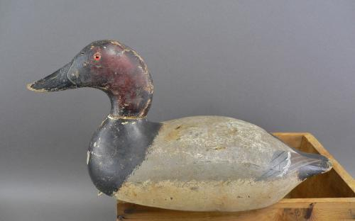Vintage rig mated pair of mammoth grade Evans Canvasback glass eye wood decoys for sale