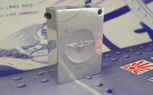 Vintage aluminum block lighter with navy pilots wings pre or post WWII for sale