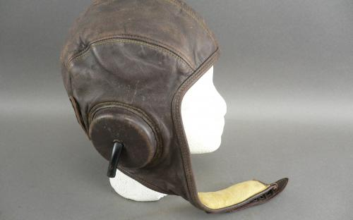 Named pre WWII U.S. Navy leather flight helmet with Gosport speaking tubes for sale