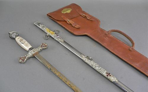 Vintage Henderson Ames Co named Knights Templar sword and case for sale