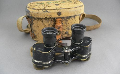 Cased WWII Japanese 6 x 9.3 binoculars with strap professionally cleaned for sale