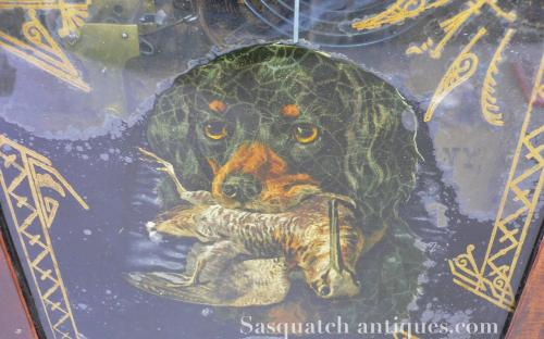 Antique Waterbury Ogee OG Mahogany 8 day clock reverse painted glass Gordon setter retriever Wilson snipe shore bird for sale sporting scene