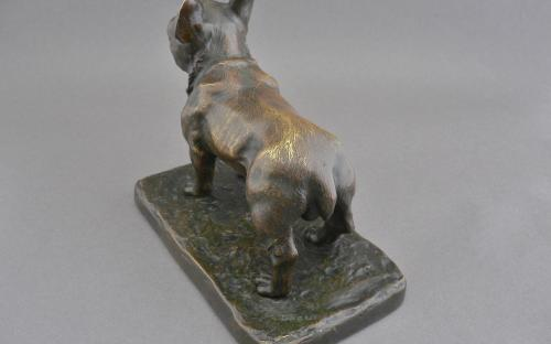 Antique French bronze bulldog sculpture signed Paul Edouard Dreux 1855-1947 listed artist for sale