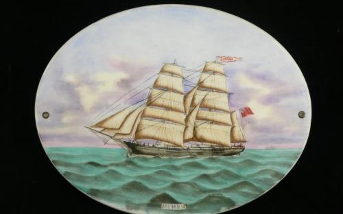 Antique 19th century Canadian sailing ship brig Simoda hand painted porcelain plaque for sale