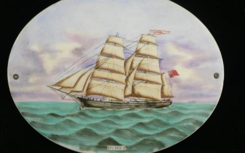 Antique 19th century Nova Scotia sailing ship Simoda painting on porcelain plaque for sale red ensign flag for sale