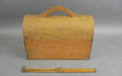 Shaker attributed vintage wood sliding top lunchbox bentwood dome top for sale