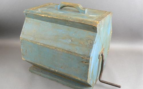 Antique 19th century hand made primitive butter churn in blue milk paint octagonal form for sale