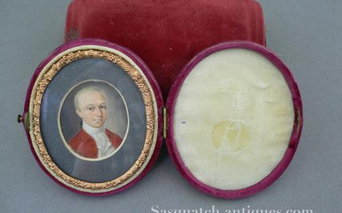 "Antique miniature painting portrait of British ""red coat"" military officer for sale"