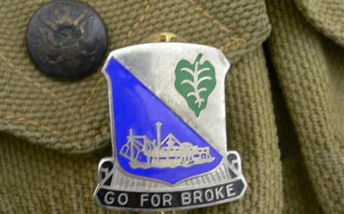 Clutch back Meyer 2nd style late WWII 442nd Regimental combat team unit insignia DI Go for broke! for sale