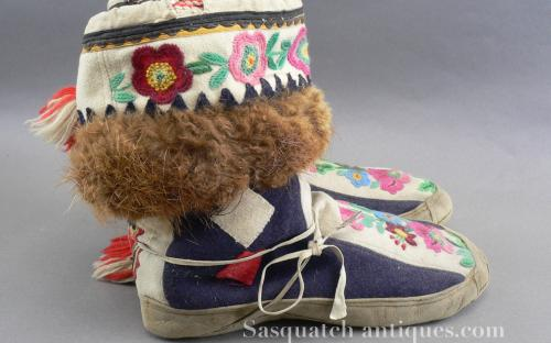 Vintage 20's-30's Alaskan embroidered dance mukluks for sale