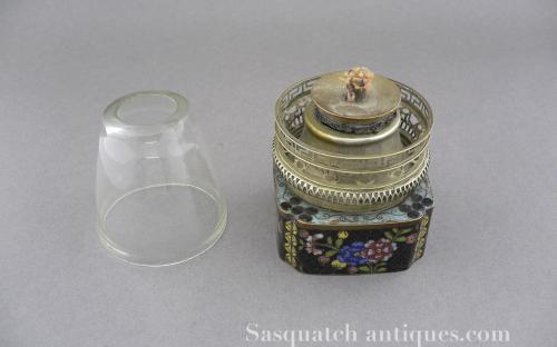 Antique Chinese Cloisonne Opium lamp late 19th or early 20th century for sale