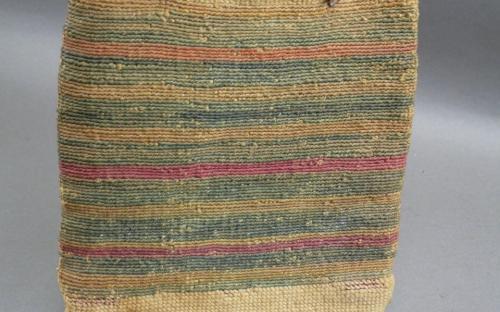 Vintage 1900-20 Native American Nez Perce corn husk hemp root bag for sale