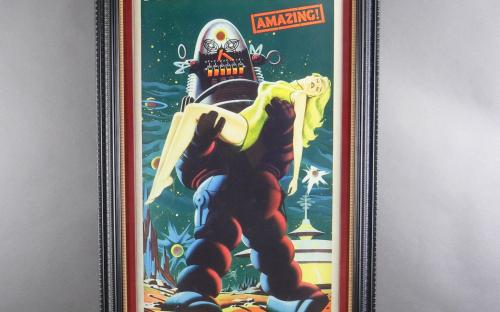 Vintage 1956 Forbidden Planet framed insert poster Robby the robot ! for sale