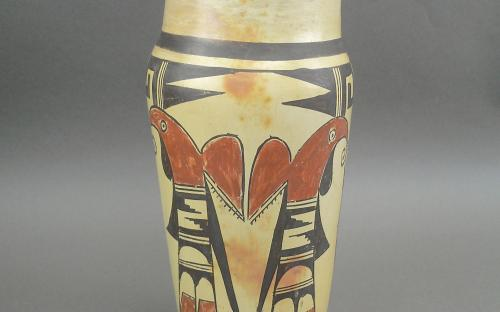 Vintage 1940's Hopi hand painted Parrot vase for sale indian native american