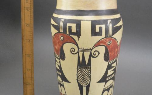 Vintage 1940's Hopi hand painted Parrot vase for sale