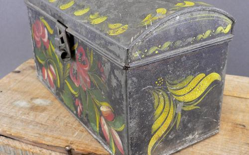Antique Tin Tole 19th century hand painted trunk document box for sale