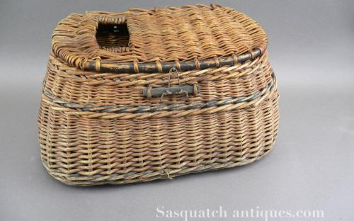 Vintage primitive painted whole wicker fly fishing creel for sale