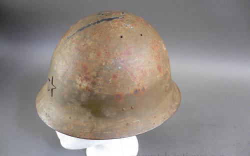 WWII IJA 90 shrapnel damaged Japanese helmet & Hinomaru signed flag remnant for sale